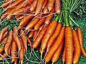 Eine Nahaufnahme von Karotten.